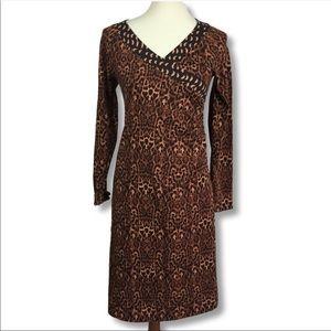 Soft Surroundings animal print faux wrap dress L
